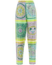 Versace Heritage シルクツイルパンツ - グリーン