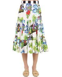 Stella Jean Printed Cotton Midi Skirt - White