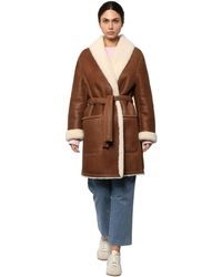 Loewe フード付きシアリングコート - ブラウン