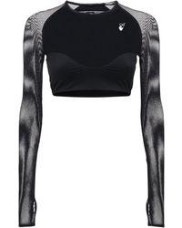 Off-White c/o Virgil Abloh Athleisure Jersey & Mesh Crop Top - Black