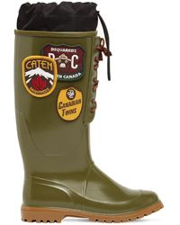 DSquared² Rubber Rain Boots W/ Patches - Green