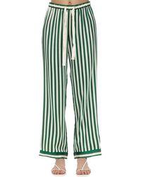 Morgan Lane Pantalones De Pijama De Seda Charmeuse - Verde