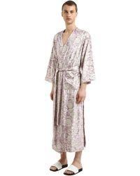 Versace Bavelet Long Satin Robe - Pink