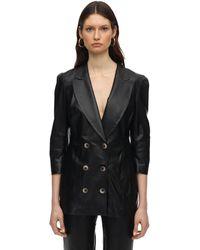 Zeynep Arcay Wrapped Leather Blazer - Black