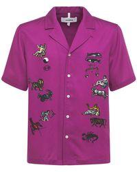 Soulland Вышитая Атласная Рубашка Zodiac - Пурпурный
