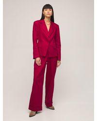 Acheval Pampa Gardel High Waist Cotton Satin Trousers - Red