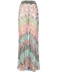 Missoni High Waist Viscose Knit Wide Leg Trousers - Multicolour