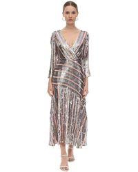 RIXO London Платье Миди Из Вискозного Шифона - Многоцветный