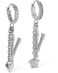 Versace V Earrings W/ Charms - Metallic
