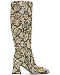 Gucci Кожаные Ботфорты С Принтом 75мм - Многоцветный