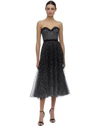 Marchesa Vestito In Tulle Con Decorazioni - Nero