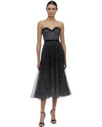 Marchesa Embellished Tulle Dress - Черный