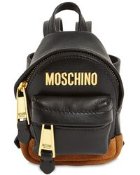 Moschino Micro Logo Leather Backpack - Black
