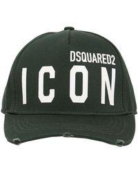 DSquared² Casquette En Gabardine De Coton Détail Icon - Vert