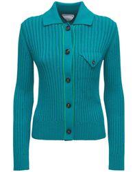 Bottega Veneta Wool Rib Knit Button-up Cardigan - Blue