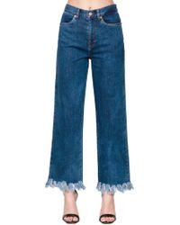 Baum und Pferdgarten Jeans Con Cintura Alta De Denim Con Flecos - Azul