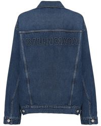 Balenciaga Oversized Logo Denim Jacket - Синий