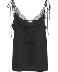 Alexander McQueen Silk Crepe De Chine Top - Black