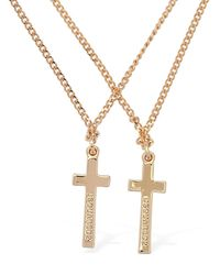 DSquared² Collar De Doble Cadena Con Cruz - Metálico