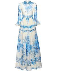Valentino Robe Longue En Organza De Soie Imprimé Céramique - Bleu