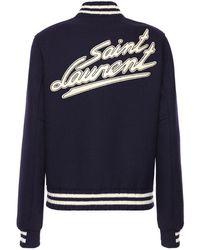 Saint Laurent Куртка Varsity Из Шерсти И Кожи С Логотипом Сзади - Синий