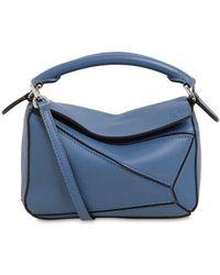Loewe Puzzle Mini Classic Satchel Bag - Blue