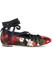 Paloma Barceló 10mm Embroidered Satin Lace Up Flats - マルチカラー