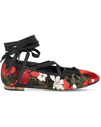 Paloma Barceló 10mm Embroidered Satin Lace Up Flats - ブラック