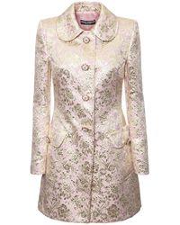 Dolce & Gabbana Jacquard Lamé Single Breast Short Coat - Pink