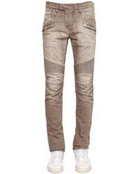Balmain | Biker Washed Cotton Denim Jeans | Lyst