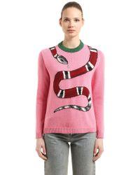 Gucci   Snake Intarsia Wool Knit Sweater   Lyst