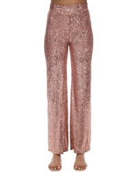 L'Autre Chose High Waist Sequined Palazzo Pants - Pink