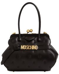 Moschino キルテッドレザートップハンドルバッグ - ブラック
