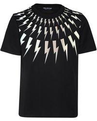 Neil Barrett 3d Bolt Print Cotton Jersey T-shirt - Black