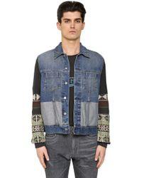 Maison Margiela - Wool Jacquard & Cotton Denim Jacket - Lyst