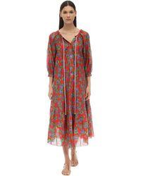 Borgo De Nor Платье Из Шелка И Хлопка С Принтом - Красный