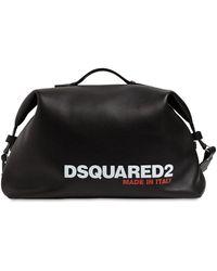 DSquared² Logo Print Leather Duffle Bag - Black