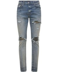 """Amiri Jeans """"mx1"""" In Denim Di Cotone Camouflage 15cm - Blu"""