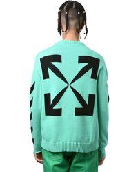 Off-White c/o Virgil Abloh Diagonal Stripes Cotton Knit Sweater - Grün