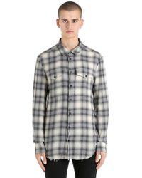 Garçons Infideles Raw Cut Plaid Cotton Shirt - Grey