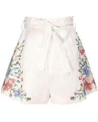 """Zimmermann Shorts """"bellitude"""" In Lino Stampato - Multicolore"""