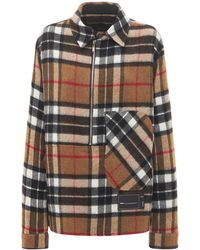 we11done Zip-up Checked Wool Shirt Jacket - Multicolour