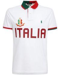 Polo Ralph Lauren Italy Custom Fit Cotton Piqué Polo - White