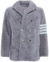 Thom Browne Unconstructed Shearling Peacoat W/ 4bar - Grey