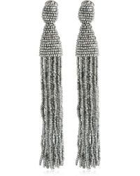 Oscar de la Renta Long Beaded Tassel Earrings - Metallic