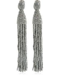 Oscar de la Renta Long Beaded Tassel Earrings - Metallic