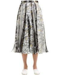 Jil Sander - Printed Organza & Silk Twill Skirt - Lyst