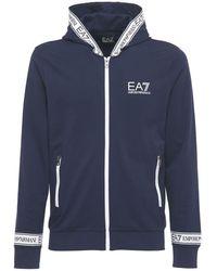 EA7 ジップアップコットンスウェットシャツ - ブルー