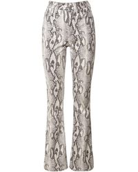 Alessandra Rich Python Print Stretch Jerseyflare Trousers - Multicolour