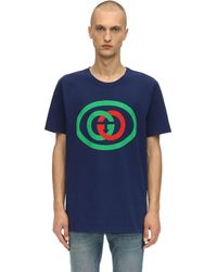 Gucci T-shirt oversize con stampa GG - Blu